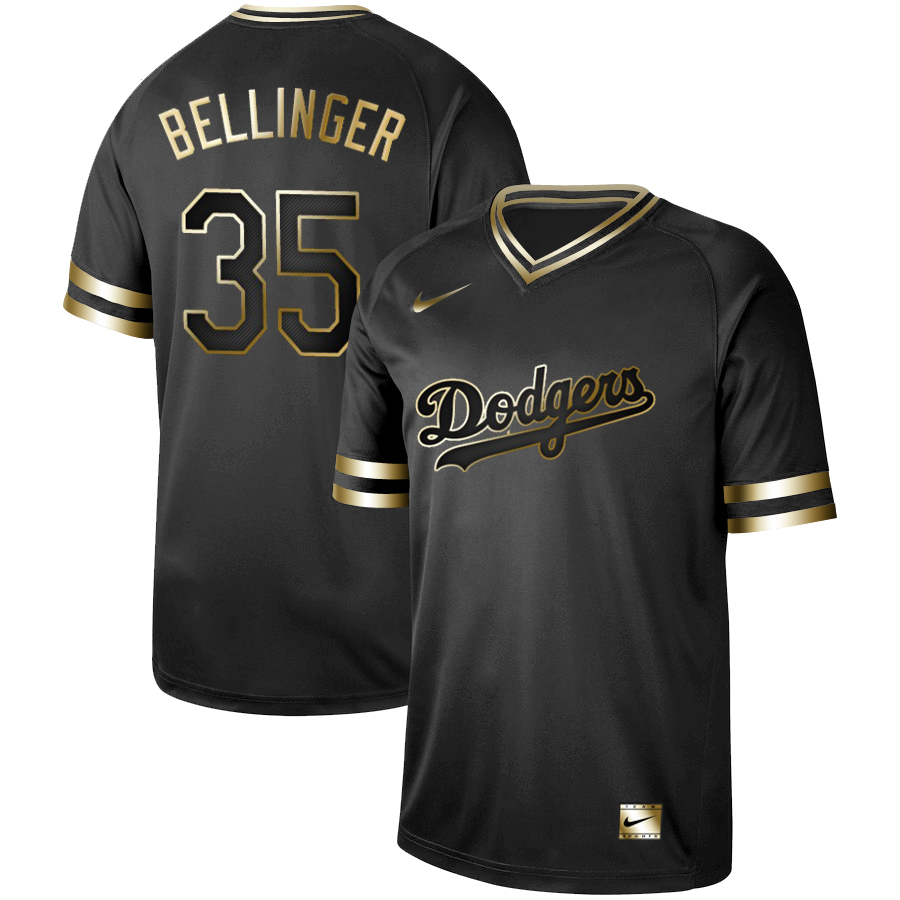 cf7a500e8 Men s Los Angeles Dodgers  35 Cody Bellinger Black Gold Stitched MLB Jersey