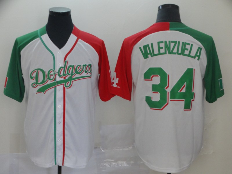 Men's Los Angeles Dodgers #34 Fernando Valenzuela Mexican Heritage Culture Night MLB Jersey