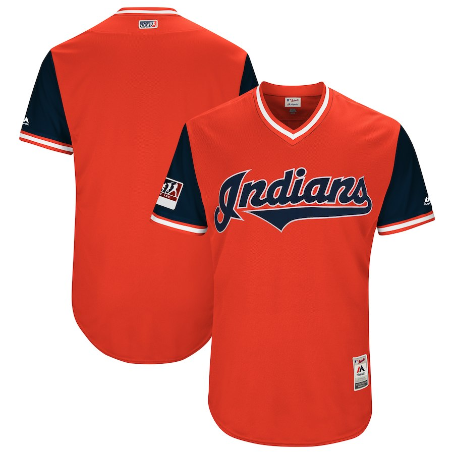 Men's Cleveland Indians Majestic Red/Navy 2018 Players' Weekend Team Stitched MLB Jersey