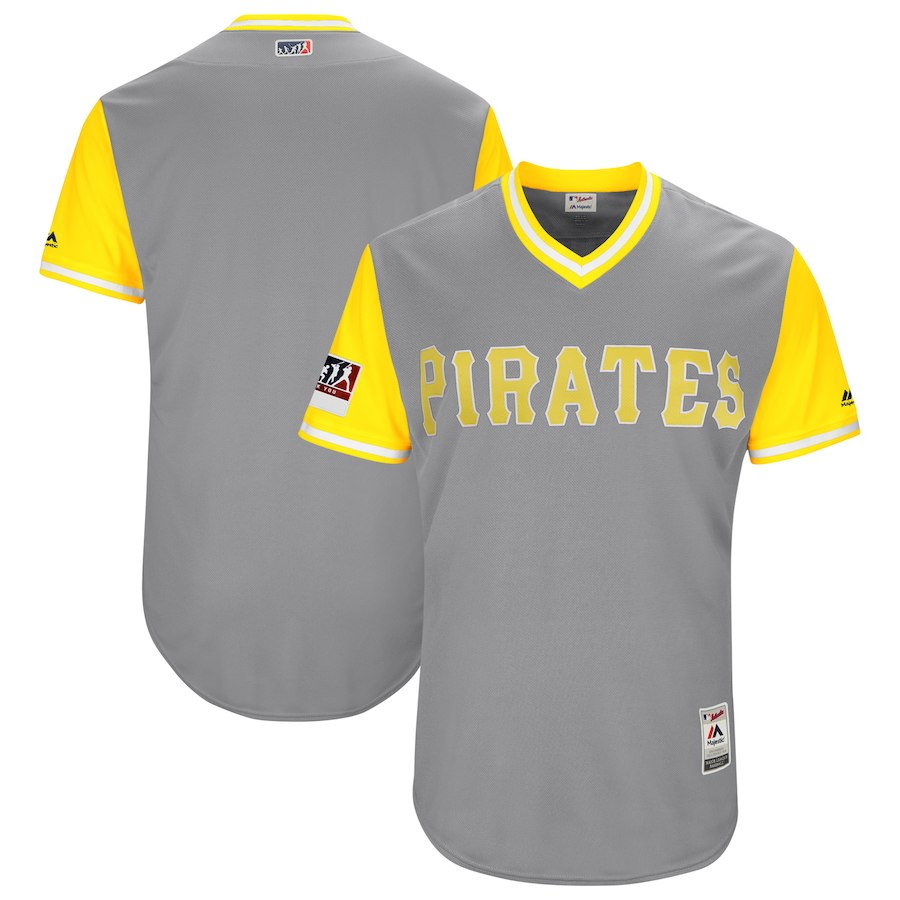 Men's Pittsburgh Pirates Majestic Gray/Yellow 2018 Players' Weekend Team Stitched MLB Jersey