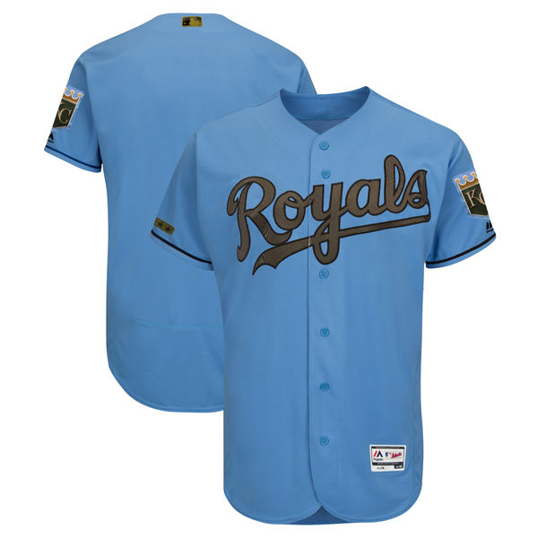 Men's Kansas City Royals Blank Blue 2018 Memorial Day Flexbase Stitched MLB Jersey
