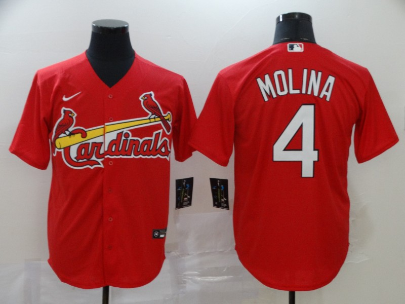 Men's St. Louis Cardinals #4 Yadier Molina Red Cool Base Stitched MLB Jersey