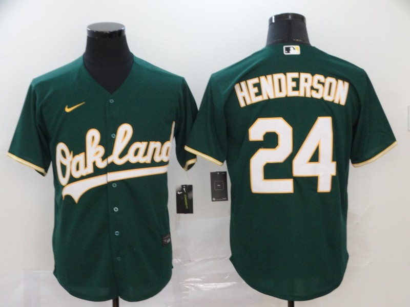 Men's Oakland Athletics #24 Rickey Henderson Green Cool Base Stitched MLB Jersey