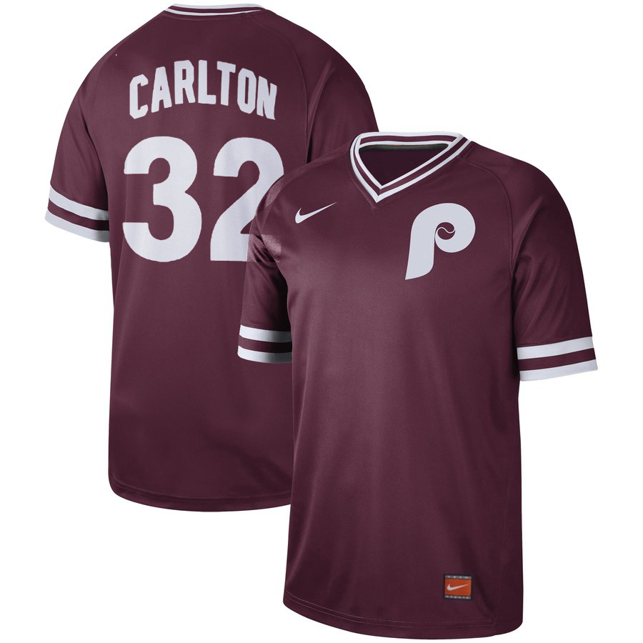 Men's Philadelphia Phillies #32 Steve Carlton Maroon Cooperstown Collection Legend Stitched MLB Jersey