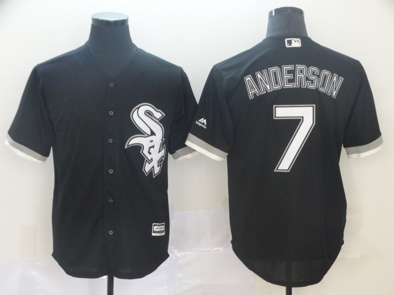 Men's Chicago White Sox #7 Tim Anderson Black Cool Base Stitched MLB Jersey