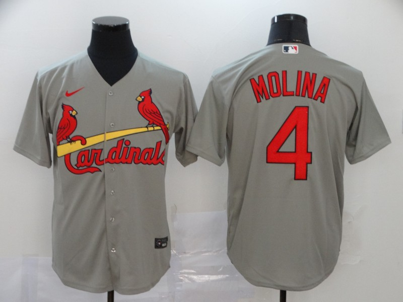 Men's St. Louis Cardinals #4 Yadier Molina Grey Cool Base Stitched MLB Jersey