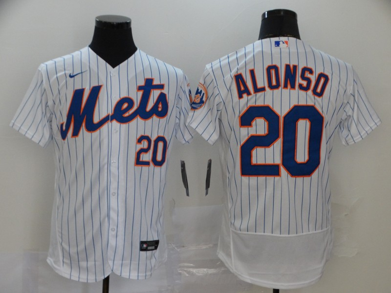 Men's New York Mets #20 Pete Alonso 2020 White Flex Base Stitched MLB Jersey