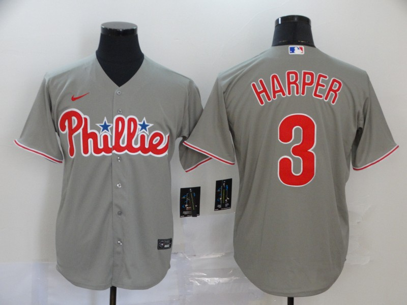 Men's Philadelphia Phillies #3 Bryce Harper 2020 Grey Cool Base Stitched MLB Jersey