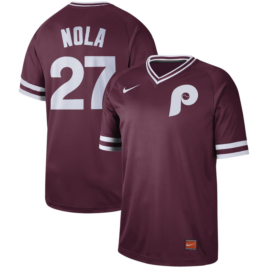 Men's Philadelphia Phillies #27 Aaron Nola Maroon Cooperstown Collection Legend Stitched MLB Jersey