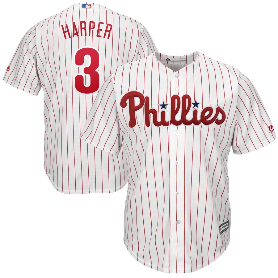 Men's Philadelphia Phillies #3 Bryce Harper Majestic White Home Cool Base Stitched MLB Jersey