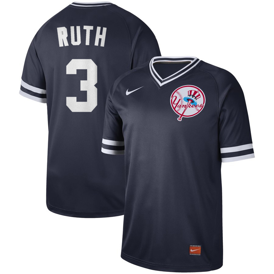 Men's New York Yankees #3 Babe Ruth Navy Cooperstown Legend Collection Stitched MLB Jersey