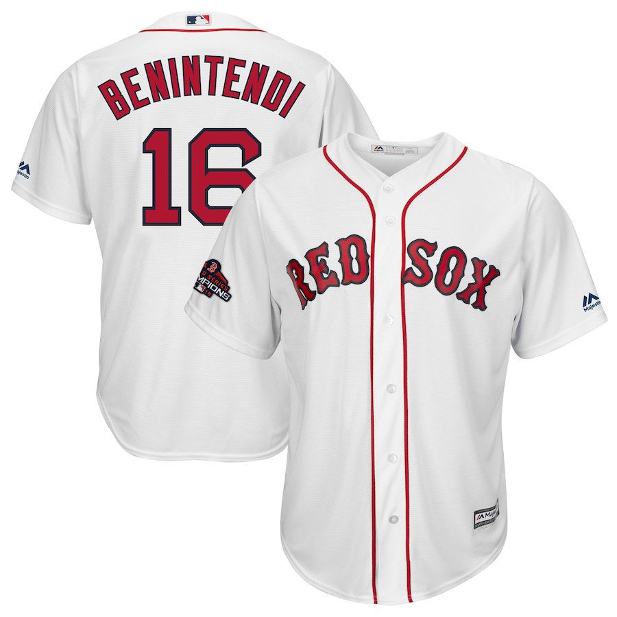 Men's Boston Red Sox #16 Andrew Benintendi Majestic White 2018 World Series Champions Team Logo Player Stitched MLB Jersey