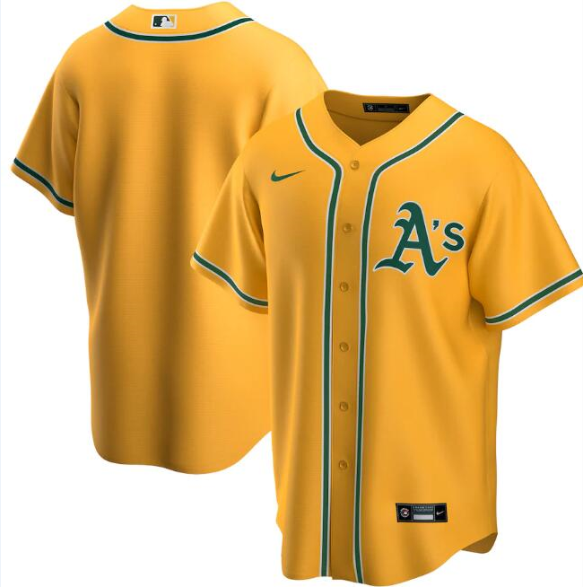 Men's Oakland Athletics Blank Yellow Cool Base Stitched Jersey