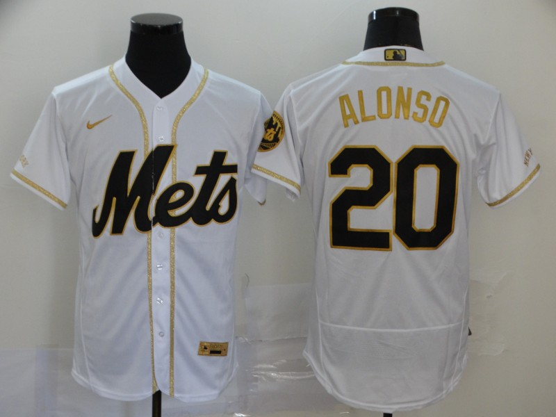 Men's New York Mets #20 Pete Alonso 2020 White Golden Flex Base Stitched MLB Jersey
