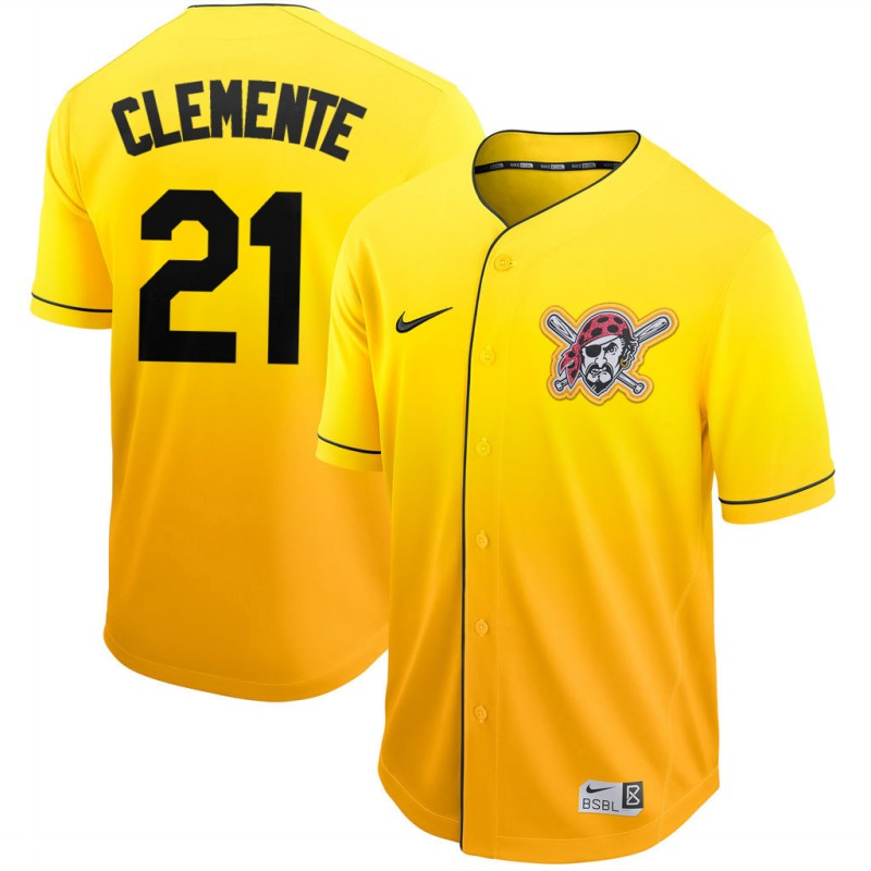 Men's Pittsburgh Pirates #21 Roberto Clemente Gold Fade Stitched MLB Jersey