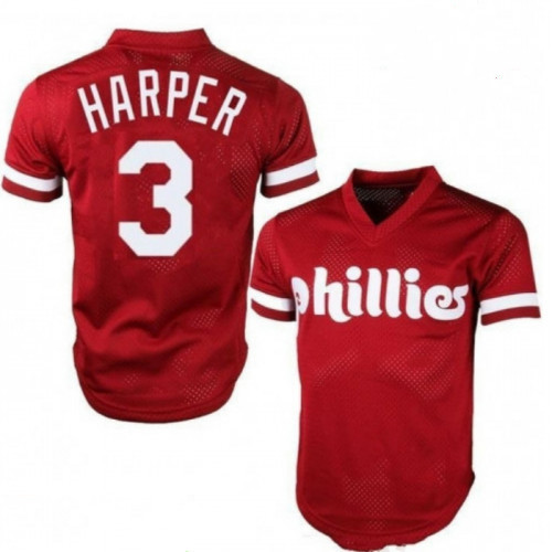 Men's Philadelphia Phillies #3 Bryce Harper Majestic On-Field Red Stitched MLB Jersey