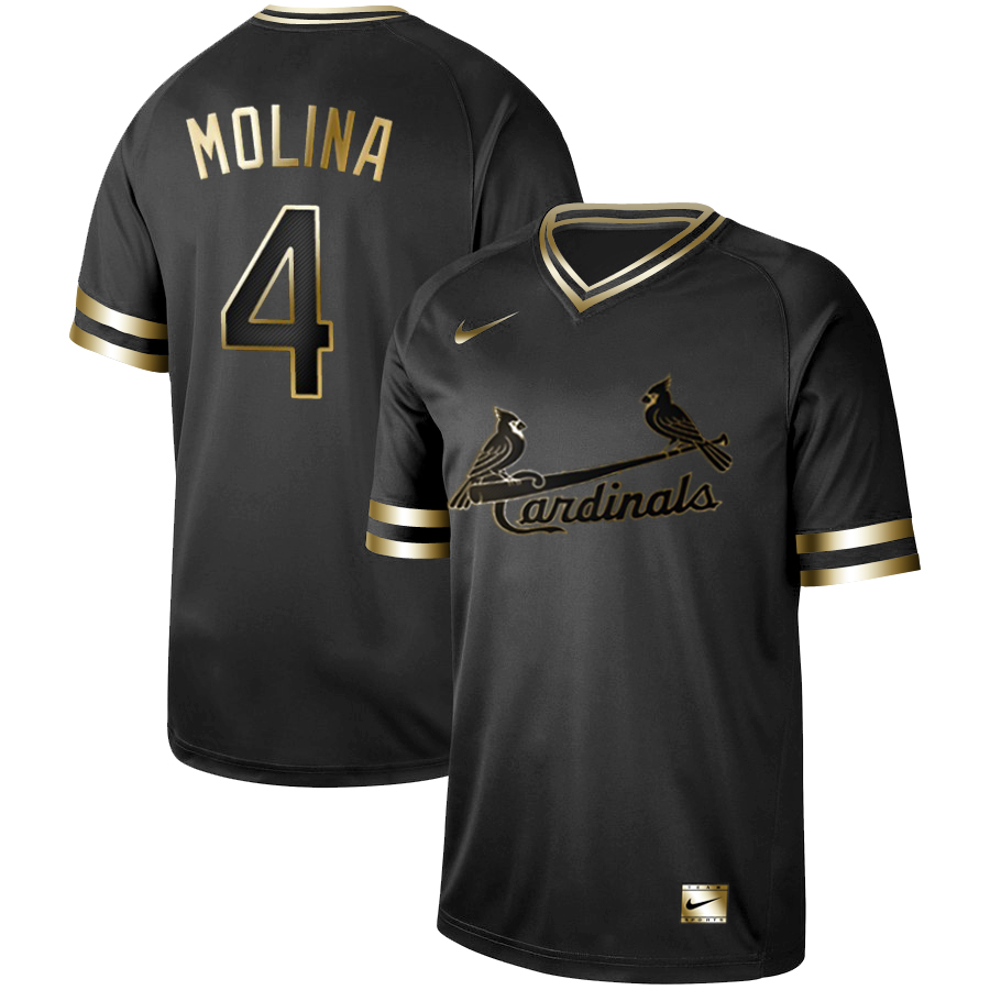 Men's St. Louis Cardinals #4 Yadier Molina Black Gold Stitched MLB Jersey