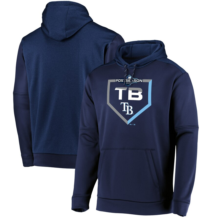 Men's Tampa Bay Rays Majestic Navy 2019 Postseason Dugout Pullover Hoodie