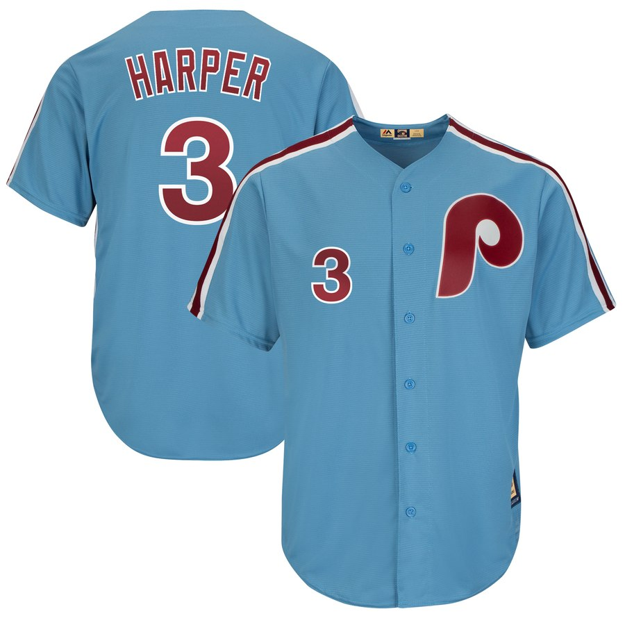 Men's Philadelphia Phillies #3 Bryce Harper Blue Throwback Stitched MLB Jersey