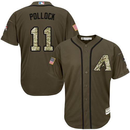 Diamondbacks #11 A. J. Pollock Green Salute to Service Stitched MLB Jersey