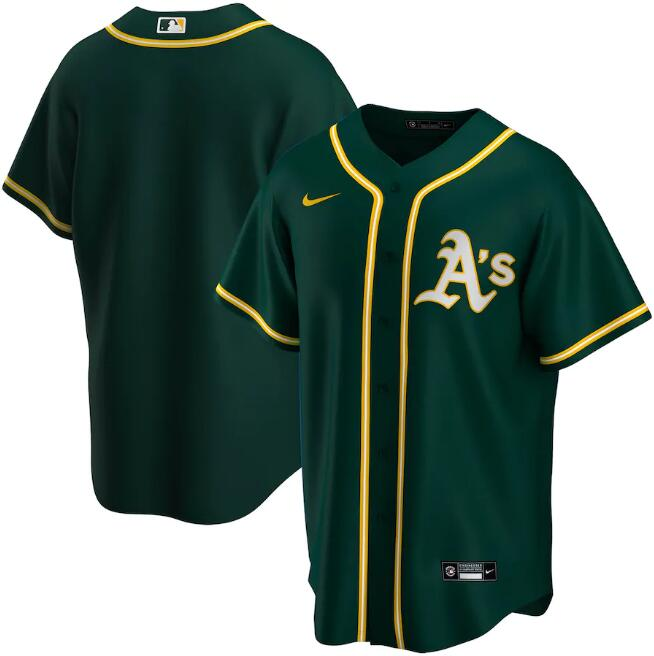 Men's Oakland Athletics Blank Green Cool Base Stitched Jersey
