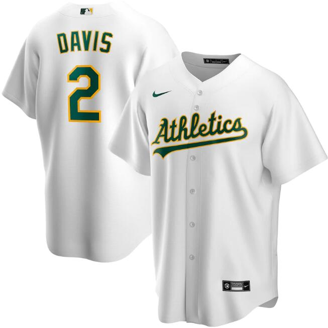 Men's Oakland Athletics #2 Khris Davis White Cool Base Stitched Jersey