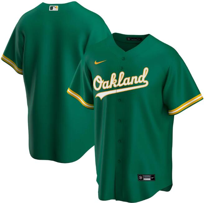 Men's Oakland Athletics Blank 2020 Green Cool Base Stitched Jersey