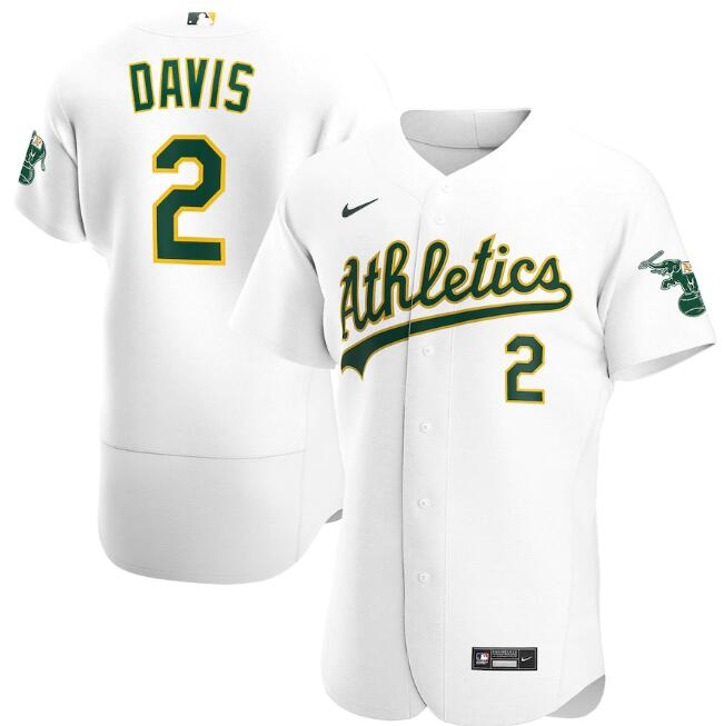 Men's Oakland Athletics #2 Khris Davis White Flex Base MLB Stitched Jersey