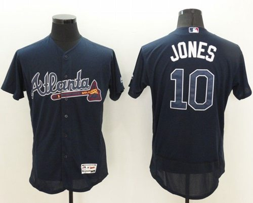 Braves #10 Chipper Jones Navy Blue Flexbase Authentic Collection Stitched MLB Jersey