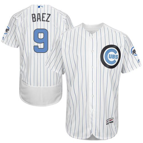 Cubs #9 Javier Baez White(Blue Strip) Flexbase Authentic Collection 2016 Father's Day Stitched MLB Jersey