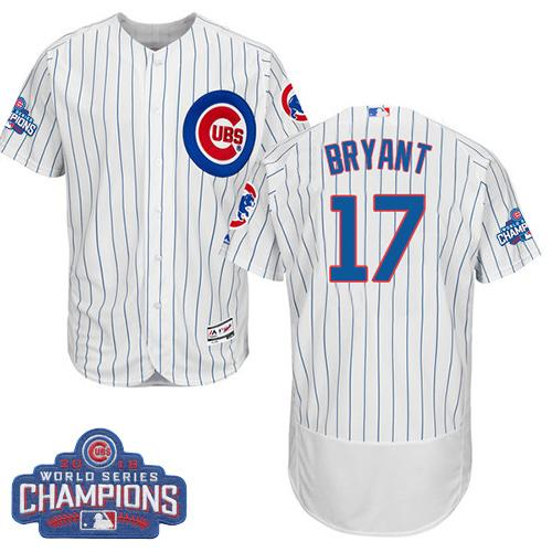 Cubs #17 Kris Bryant White Flexbase Authentic Collection 2016 World Series Champions Stitched MLB Jersey