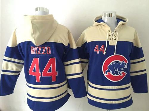 Cubs #44 Anthony Rizzo Blue Sawyer Hooded Sweatshirt MLB Hoodie