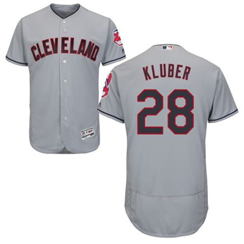 Indians #28 Corey Kluber Grey Flexbase Authentic Collection Stitched MLB Jersey