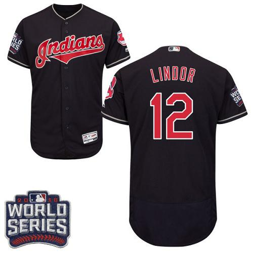 Indians #12 Francisco Lindor Navy Blue Flexbase Authentic Collection 2016 World Series Bound Stitched MLB Jersey