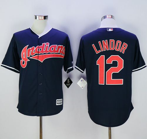 Indians #12 Francisco Lindor Navy Blue New Cool Base Stitched MLB Jersey