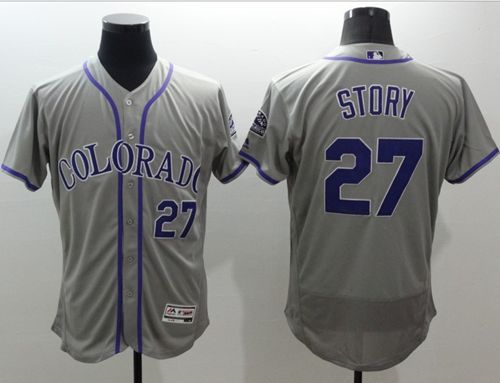 Rockies #27 Trevor Story Grey Flexbase Authentic Collection Stitched MLB Jersey