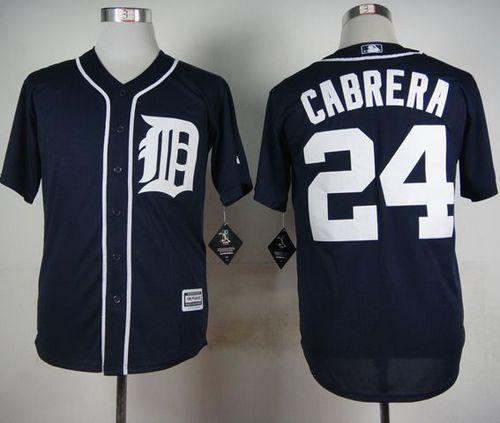 Tigers #24 Miguel Cabrera Navy Blue Cool Base Stitched MLB Jersey