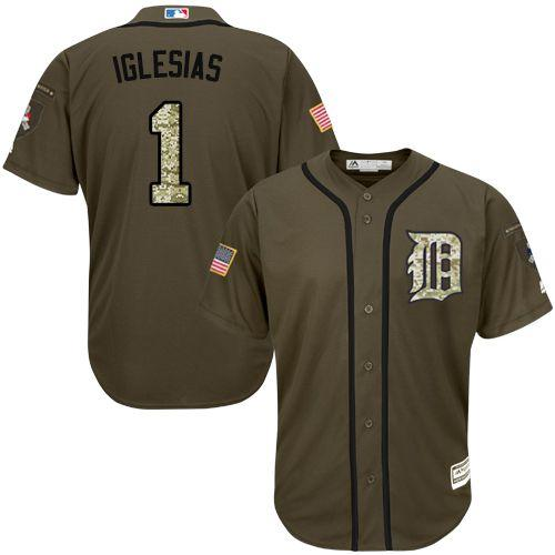 Tigers #1 Jose Iglesias Green Salute to Service Stitched MLB Jersey