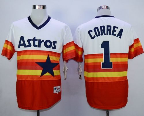 Astros #1 Carlos Correa White/Orange 1980 Turn Back The Clock Stitched MLB Jersey