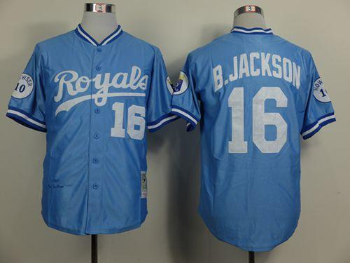 Mitchell and Ness Royals #16 Bo Jackson Light Blue Throwback Stitched MLB Jersey
