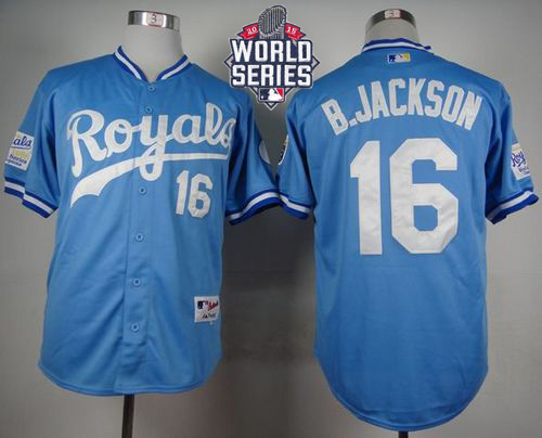 Royals #16 Bo Jackson Light Blue 1985 Turn Back The Clock W/2015 World Series Patch Stitched MLB Jersey