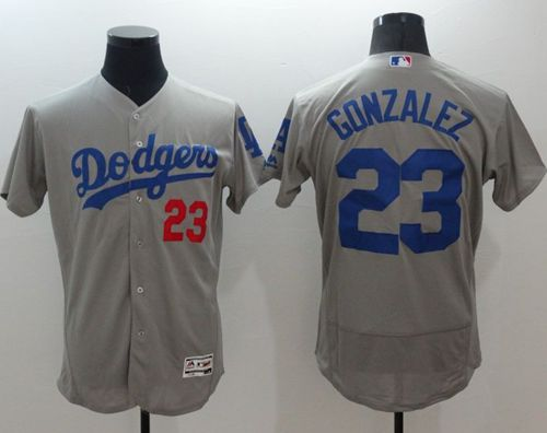 Dodgers #23 Adrian Gonzalez Grey Flexbase Authentic Collection Stitched MLB Jersey