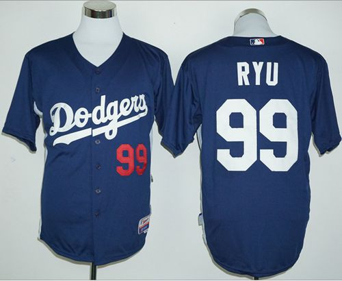 Dodgers #99 Hyun-Jin Ryu Navy Blue Cooperstown Stitched MLB Jersey