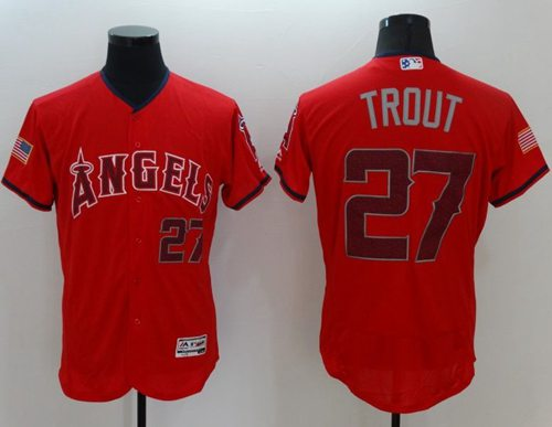 Angels of Anaheim #27 Mike Trout Red Fashion Stars & Stripes Flexbase Authentic Stitched MLB Jersey