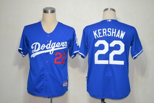 Dodgers #22 Clayton Kershaw Blue Cool Base Stitched MLB Jersey