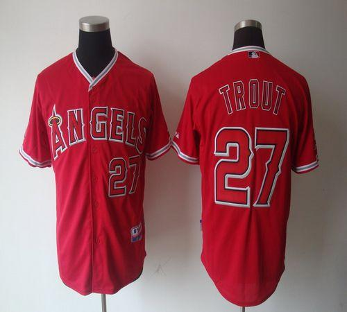 Angels of Anaheim #27 Mike Trout Red Cool Base Stitched MLB Jersey