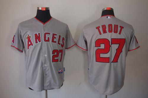 Angels of Anaheim #27 Mike Trout Grey Cool Base Stitched MLB Jersey