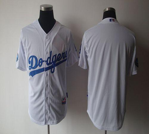 Dodgers Blank White With 50th Anniversary Dodger Stadium Patch Stitched MLB Jersey