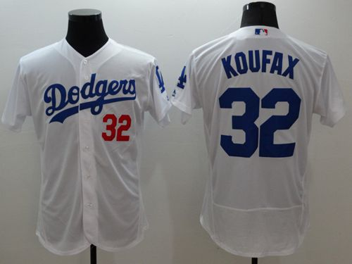 Dodgers #32 Sandy Koufax White Flexbase Authentic Collection Stitched MLB Jersey