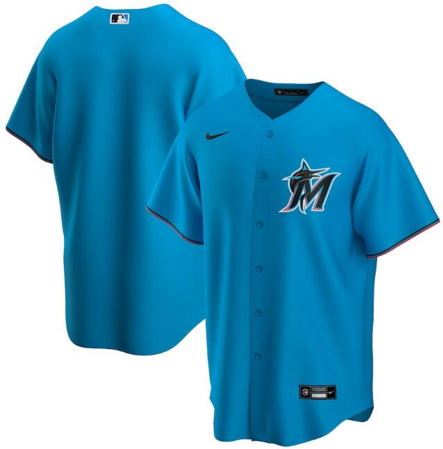 Men's Miami Marlins Blank Blue Cool Base Stitched Jersey